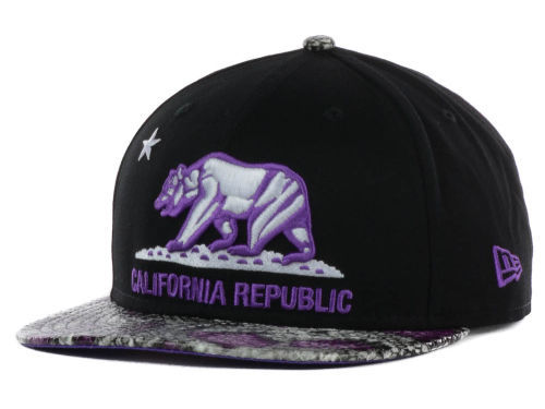 Califomia Republic Black Snapback Hat GF 4